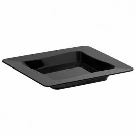 "Fineline Settings Black Plastic Disposable Tiny Tray 3""x3"" Party Supplies - B6200BK - 10/pk"