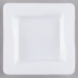 """Fineline Settings White Plastic Disposable Tiny Tray 3""""x3"""" Plastic Party Platters/Trays - B6200WH - 10/pk"""