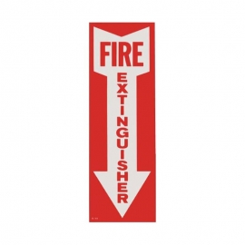"""Brooks Safety Sign: Fire Extinguisher Arrow 4""""x12"""" Vinyl Adhesive - BL108"""