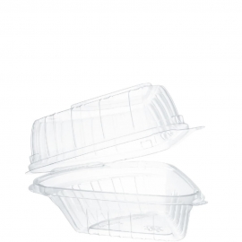 """Dart ClearSeal Pie Wedge Plastic Hinged Container 5.63"""" x 6.13"""" x 3"""" - C54HT1 - 250/cs"""