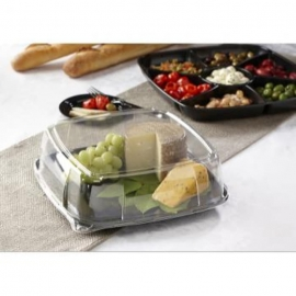 Sabert 12in Mozaïk Black Square Platter with Clear Lid Combo - C9312 - 25/cs