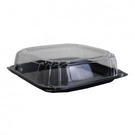 Sabert 12in UltraStack Black Square Platter with Clear High Dome Lid Combo - C9612 - 25/cs