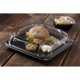 Sabert 16in UltraStack Black Square Platter with Clear High Dome Lid Combo - C9616 - 25/cs
