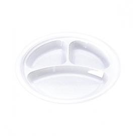 Darnel 9in White 3 Compartment Plastic Plates - D592301DC1 - 500/cs