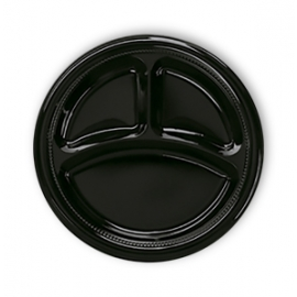 Darnel 9in Black 3 Compartment Plastic Plates - D592399DC1 - 500/cs