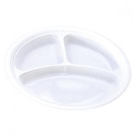 Darnel 10.5in White 3 Compartment Plastic Plates - D592601DC1 - 500/cs