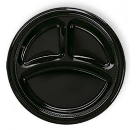 Darnel 10.5in Black 3 Compartment Plastic Plates - D592699DC1 - 500/cs