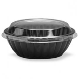 Darnel 48oz Black Plastic Bowls with Lids Combo - D774899SP - 100/cs