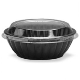 Darnel 64oz Black Plastic Bowls with Lids Combo - D776499SP - 100/cs