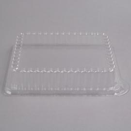 "Fineline Settings Plastic Rectangular Clear Dome Lid 10""x8"" Plastic Party Platters/Trays - DDR810L - 50/cs"