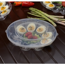 Fineline Settings Clear Plastic Egg Tray with Lid Catering Supplies 12 Egg Slot - DE0912WF - 25/cs