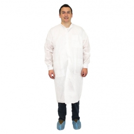 Lab Coat, White Polypropylene 50G 3 Pockets - DLWH-XL-SMS50 - 30/cs