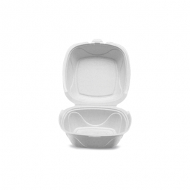 """Darnel GB-1 6in Ivory Pulp Bagasse Hinged Container 6"""" x 6"""" x 3.25"""" - DN401102 - 200/cs"""