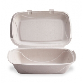 """Darnel M-205P Ivory Pulp Bagasse Paper Hinged Container 9.3"""" x 13.1"""" x 2.2"""" - DN403102H - 150/cs"""
