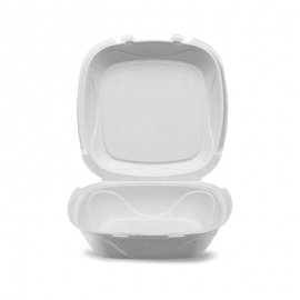 """Darnel GB-1 8in Ivory Pulp Bagasse Hinged Container 8.25"""" x 8.25"""" x 2.75"""" - DN405102 - 200/cs"""