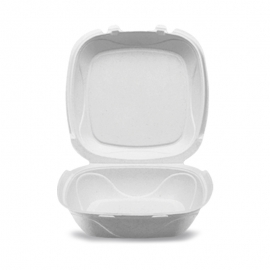"""Darnel S-1B 9in Ivory Pulp Bagasse Hinged Container 9.25"""" X 9.25"""" X 3"""" - DN406102 - 150/cs"""