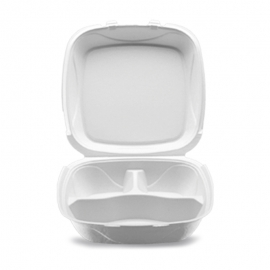 """Darnel Q-1P 9in 4 Compartment Ivory Pulp Bagasse Hinged Container 9.25"""" X 9.25"""" X 3"""" - DN406302 - 150/cs"""