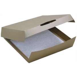 "Pactiv Pizza Slice Square Kraft Clamshell 7"" with Pad Pizza Boxes 8.25"" x 4.75"" x 3"" - DPZA7BRN - 250/cs"
