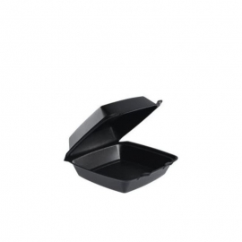"""Dart Solo Black Foam Hinged Container 8.4"""" x 7.9"""" x 3.3"""" 1 Compartment, Removable Lid - DRT85HTB0 - 200/cs"""
