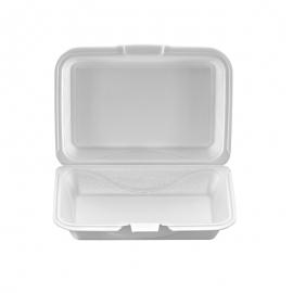 "Darnel M1 Rectangular White Foam Hinged Container 9.25"" X 6.5"" X 2.88"" - DU403101 - 200/cs"