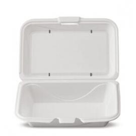 Darnel M205 HD Rectangular White Vented Foam Hinged Container - DU403101HV - 200/cs