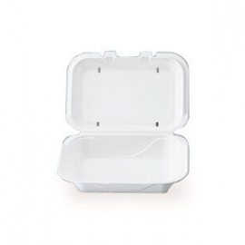 "Darnel M1 Rectangular White Vented Foam Hinged Container 9.25"" X 6.5"" X 2.88"" - DU403101V - 200/cs"