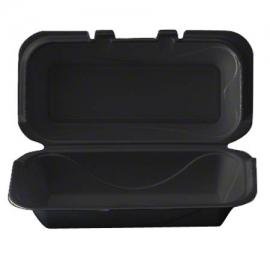 Darnel M205 HD Rectangular Black Foam Hinged Container - DU403199H - 200/cs