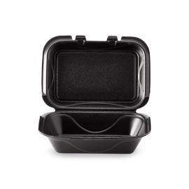 "Darnel M1 Rectangular Black Vented Foam Hinged Container 9.25"" X 6.5"" X 2.88"" - DU403199V - 200/cs"