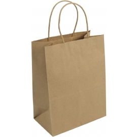"Tempo Brown Shopping Bag 8"" x 4.5"" x 10"" With Rope Handle - DUR87097 - 250/cs"