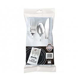 Fineline Settings 3 Pcs Pocket Napkin Set Party Supplies Silver, Includes Fork, Spoon, Knife and Linen-Like Napkin - FNL734 - 100/cs