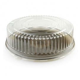 """Fineline Settings Clear Plastic Round Tray Dome Lid 14"""" Party Supplies - FNL9401L - 25/cs"""