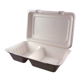 Greengood Bagasse 2 Compartment Hinged Container Beige - GGMBL2C - 250/cs