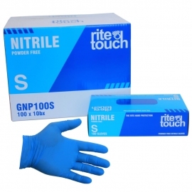 RiteTouch Blue Nitrile Gloves Small 4mil Powder-Free - GNP100S - 100/bx