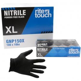 RiteTouch Black Nitrile Gloves X-Large 5mil Powder-Free - GNP150X - 100/bx