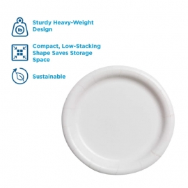"DIXIE White Coated Paper Plates 6"" Heavy Weight - GPSXP6W - 1000/cs"