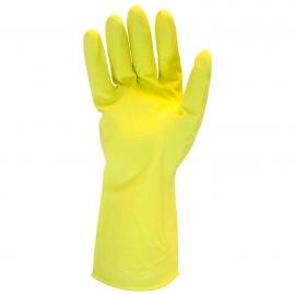 Rubber Latex Gloves, 12in Long, Yellow, Large 16mil, Frock Lined - GRFYLG1C - 12pr/pk, 120pr/cs