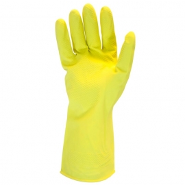 Rubber Latex Gloves, 12in Long, Yellow, Small 16mil, Frock Lined - GRFYSM1C - 12pr/pk, 120pr/cs