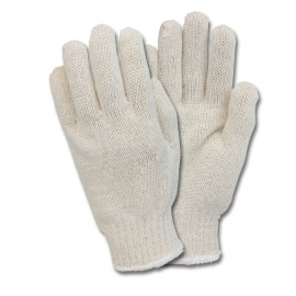 Cotton Sting Knit Gloves, Bleached with Dots Large - GSMWMN2BW70 - 12pr/dz, 25dz/cs