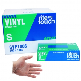 RiteTouch Vinyl Gloves Small Powder-Free - GVP100S - 100/bx