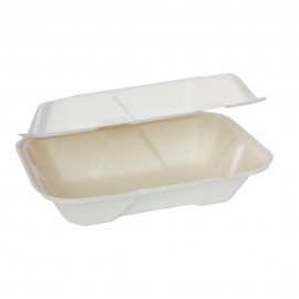 """RiteEarth 9"""" x 6"""" x 3"""" Bagasse Hinged Container - H189 - 200/cs"""