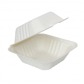 "RiteEarth 6"" x 6"" Bagasse Hinged Container with Ribs - H661 - 500/cs"
