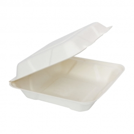 "RiteEarth 8"" x 8"" x 2.5"" Bagasse Hinged Container - H801 - 200/cs"