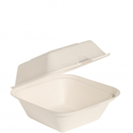 """Dart Solo Bare 6"""" Sugarcane Bagasse Pulp Hinged Containers Ivory - HC6SC-2050 - 400/cs"""