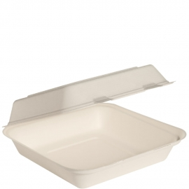 """Dart Solo Bare 9"""" Sugarcane Bagasse Paper Hinged Container Ivory - HC9SC-2050 - 200/cs"""