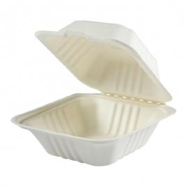 Hy-Pax Bagasse Hinged Container Large Biodegradable - HP-BAG-9CLM-C - 200/cs