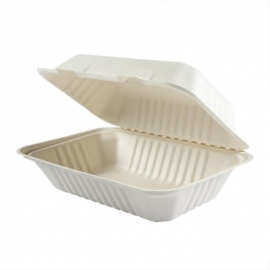 """Hy-Pax Bagasse Rectangle Hinged Container 9""""x6""""x3"""" Biodegradable - HP-BAG-9CLM6-C - 200/cs"""
