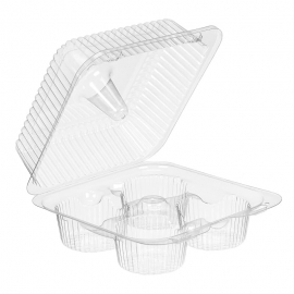 Inline 4-Cup Muffin & Cupcake Plastic Hinged Container - INLSLP44A - 288/cs
