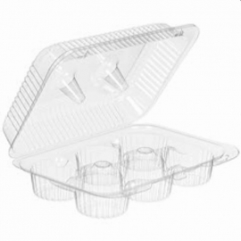 Inline 6-Cup Muffin & Cupcake Plastic Hinged Container - INLSLP46 - 300/cs