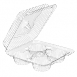 Inline 4-Pack Muffin Clear Hinged Container - INLSLP74 - 300/cs