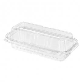 "Inline Rectangular PET Tamper Container 8"" Single Compartment - INLTS202 - 150/cs"